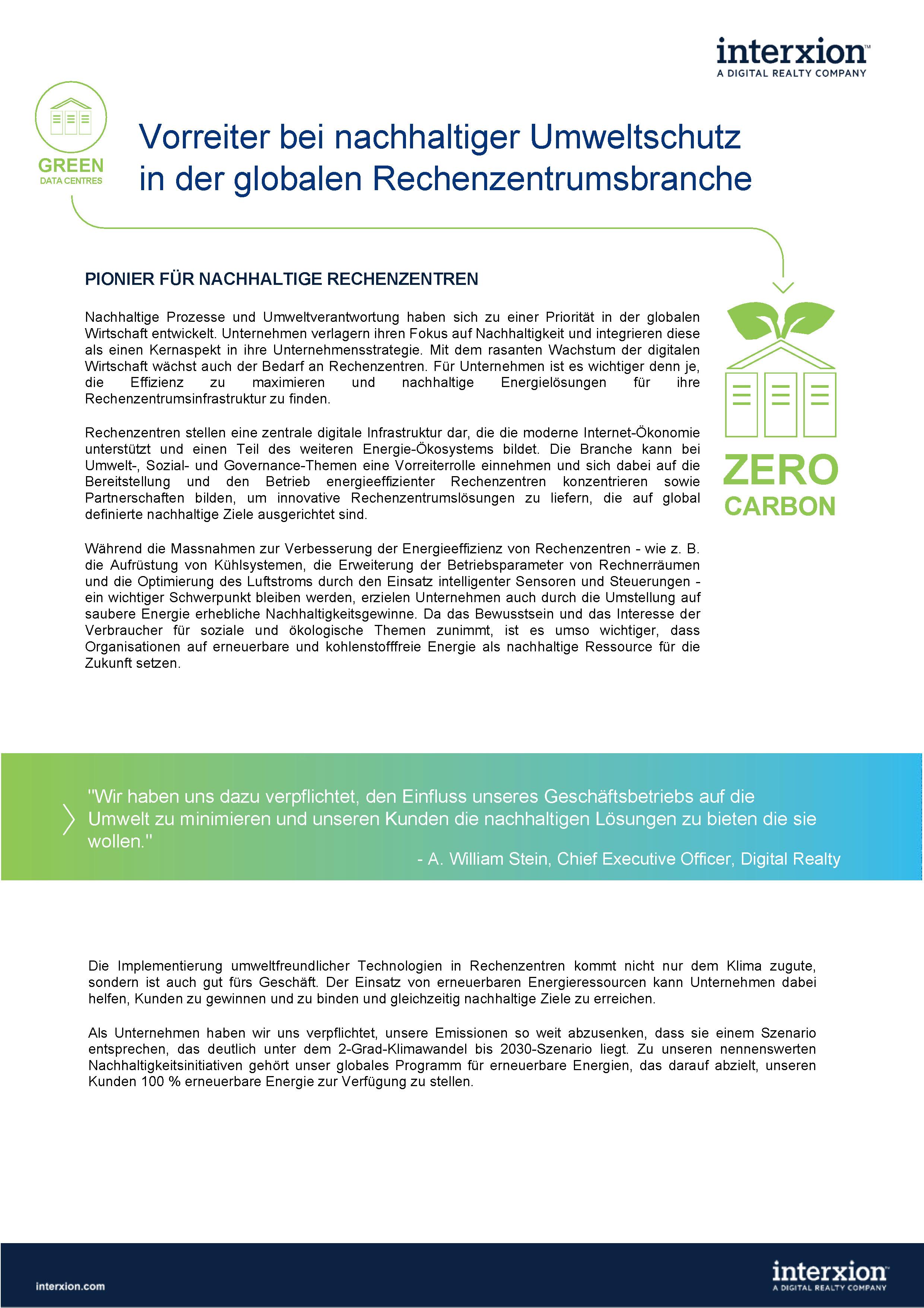 Factsheet Nachhaltigkeit Cover von  Interxion: A Digital Realty Company