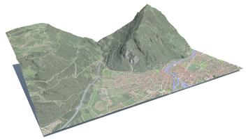 Digitale Darstellung der Topografie von Interlaken von swisstopo