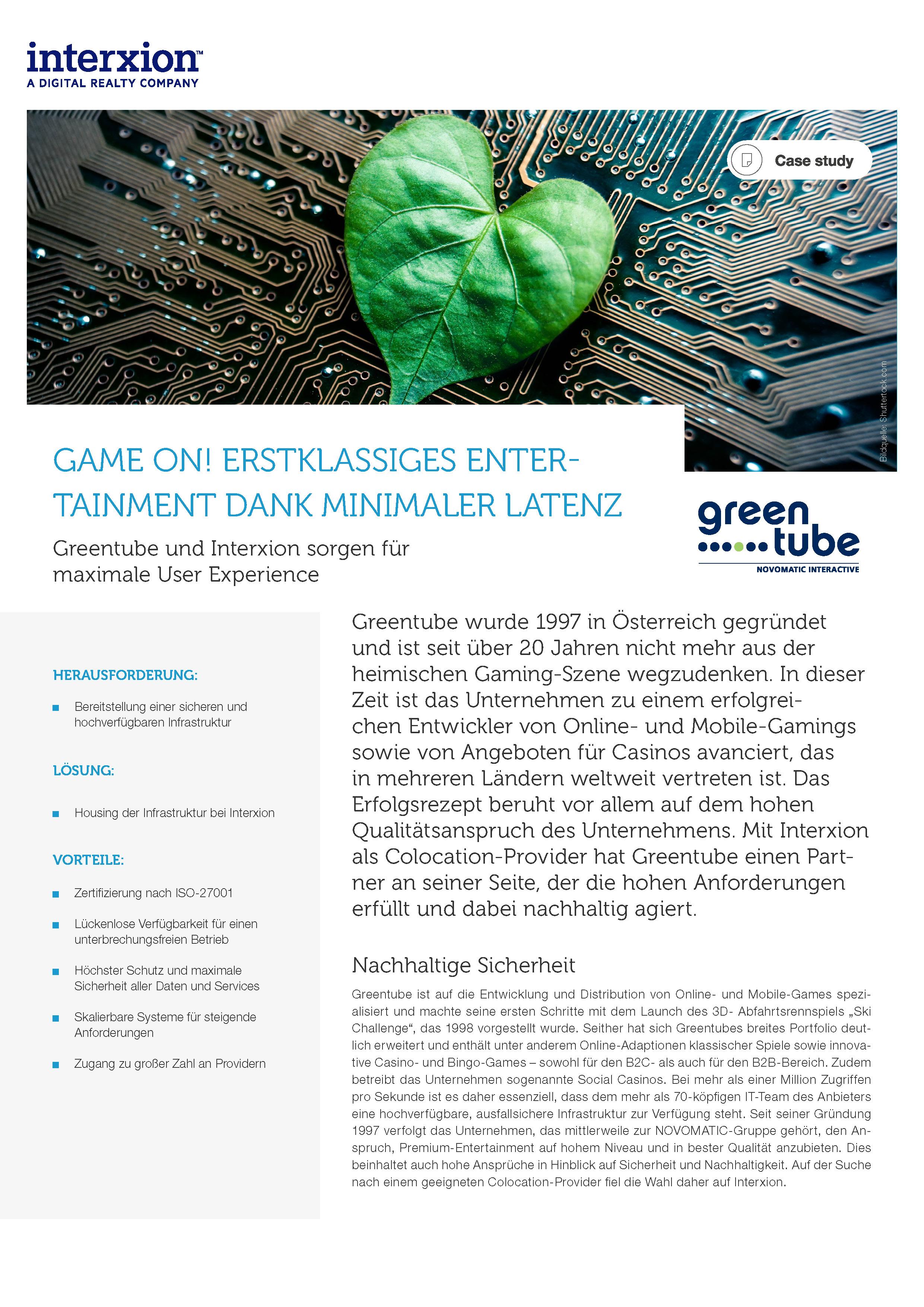 Erste Seite von der Referenzstory über Greentube
